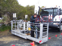60 Metre Cherry Picker being used for beaming TV signals for the motorbike cameras.