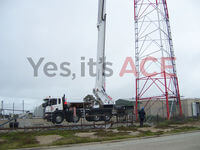 Our current tallest cherry picker was used to replace the skin on a Radome