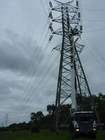 Maintance on SP Ausnet transmission Power Lines with the 70m travel tower.