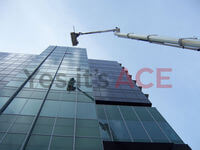 60 Metre Cherry Picker being used to install glass sheets