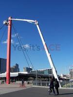 Melbourne Australia installation of lights on Telstra bridge in the city