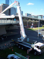Melbourne Australia installation of lights on Telstra bridge in the city